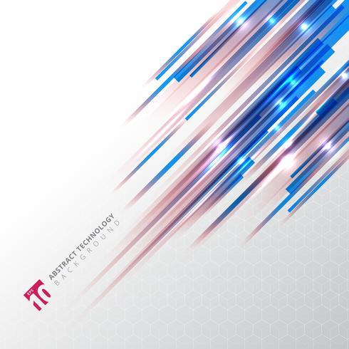 Tecnología abstracta líneas oblicuas de color azul y rojo con efecto de iluminación lazer sobre fondo de patrón hexagonal.