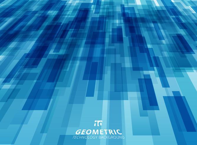 A tecnologia abstrata diagonalmente sobreposiu os quadrados geométricos dão forma ao fundo azul da cor da perspectiva.