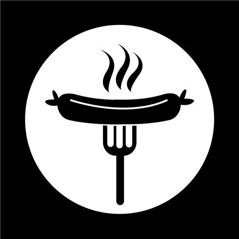 Salchicha a la plancha con el icono de tenedor