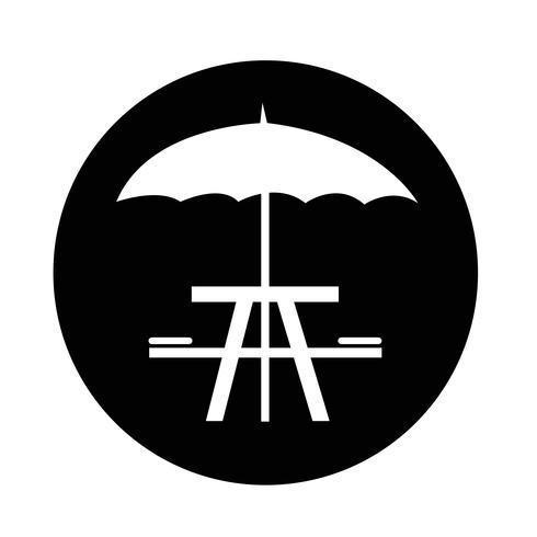 paraguas con icono de mesa de picnic