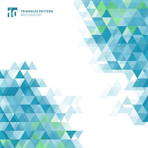 Triángulos azules abstractos geométricos en el fondo blanco.