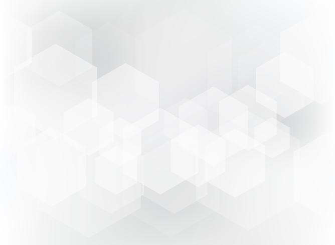 Modello di sovrapposizione geometrica astratta esagono su sfondo bianco e grigio.