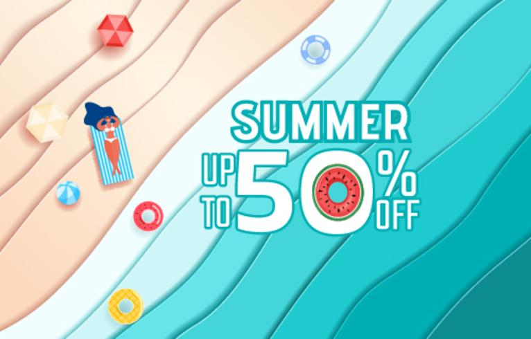 Top view blue sea paper waves and beach sale advertising design . Hot girl relaxing and sunbathe in summer season.