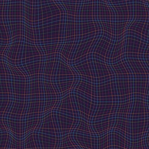Abstrakte Mehrfarbenlinien Schachbrettmusterwellenkurve auf dunklem Hintergrund. Raue Textur.