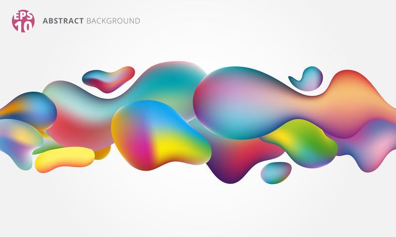 Plastikform des abstrakten flüssigen Spritzens 3d bunt auf weißem Hintergrund.