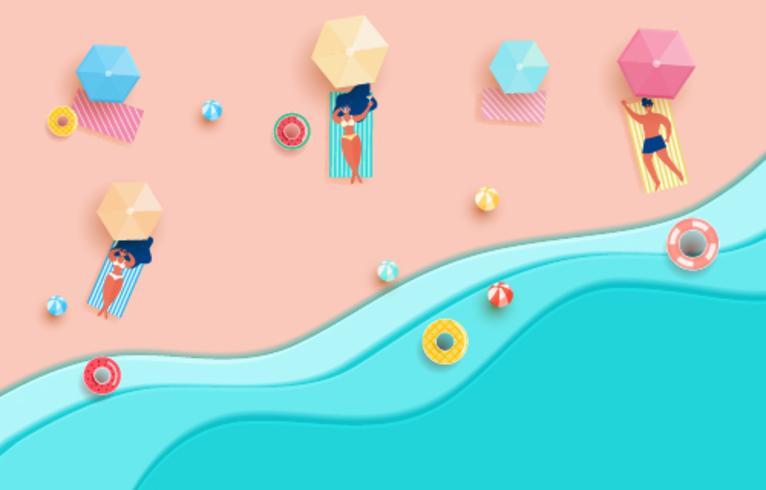 Ondas y playa azules del papel del mar de la visión superior. Chica caliente y chico en la playa para tomar el sol en temporada de verano vector