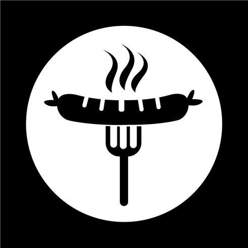 Salsiccia alla griglia con l'icona della forcella