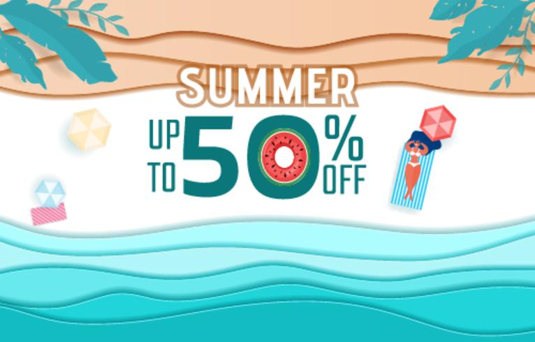 Top view blue sea paper waves and beach sale advertising design . Hot girl relaxing and sunbathe in summer season vector
