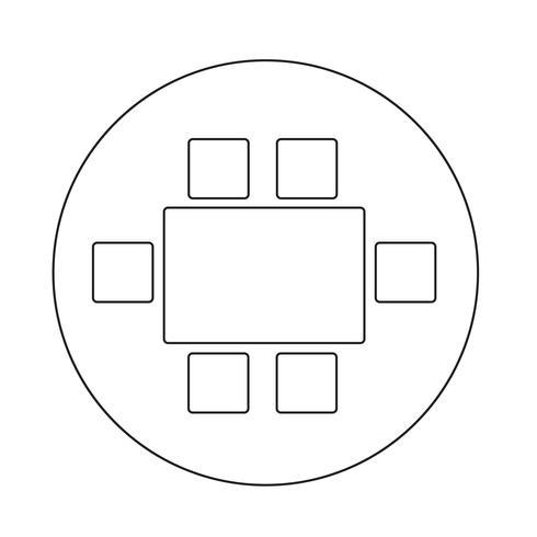 Draufsicht, die Möbel-Ikone speist vektor
