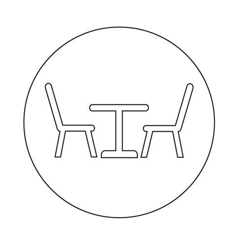 Mesa com ícone de cadeiras vetor
