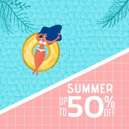 Vista superior de la fiesta en la piscina de verano. Diseño caliente de la publicidad de la venta del tiempo de verano con la muchacha en el anillo de goma en piscina. vector