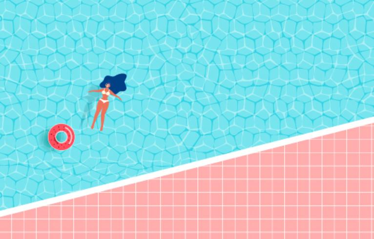 Vista dall'alto della festa in piscina estiva. Progettazione di pubblicità di vendita calda di ora legale con la ragazza sull'anello di gomma nella piscina.