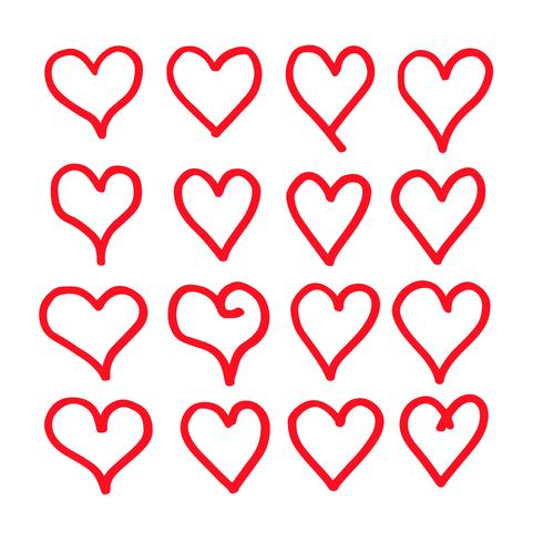 hand draw hearts icon design