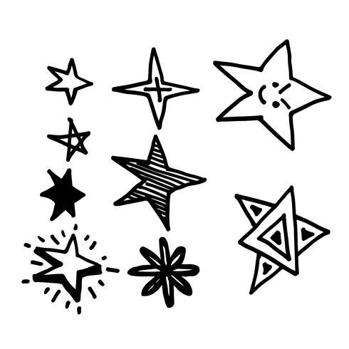 Mão desenhada ícone de estrela Doodle vetor