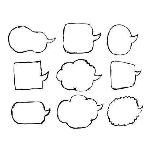 Mão de ícone do discurso bolha desenhada vetor