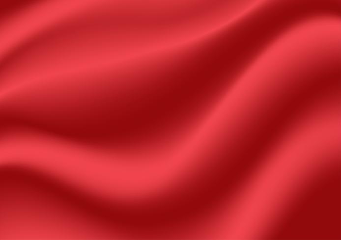 Abstrakter Beschaffenheitshintergrund. Rote Satinseide. Stoff Stoff Textil mit gewellten Falten.