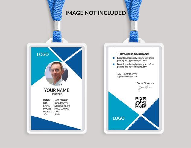 Plantilla de tarjeta de identificación impresionante azul
