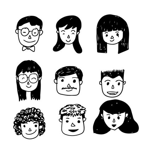 Icono de dibujos animados cara de personas