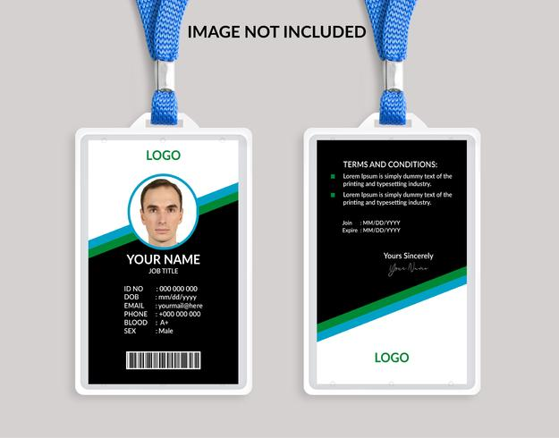 Plantilla de tarjeta de identificación impresionante verde 11