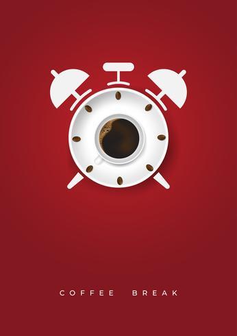 Realistische kopje koffie en koffiebonen met tijd klok concept. Minimale ontwerpaffiche flayers vector illustratie. Bovenaanzicht.