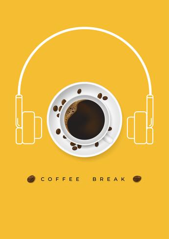 Taza realista de café y granos de café con forma de auriculares y concepto relajante. Cartel de diseño anuncio flayers ilustración vectorial. Vista superior.