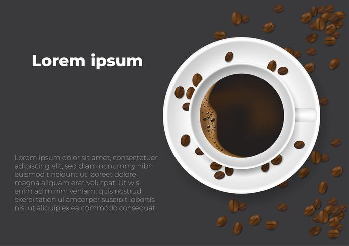 Taza realista de café y granos de café. Cartel de diseño anuncio flayers ilustración vectorial. Vista superior.
