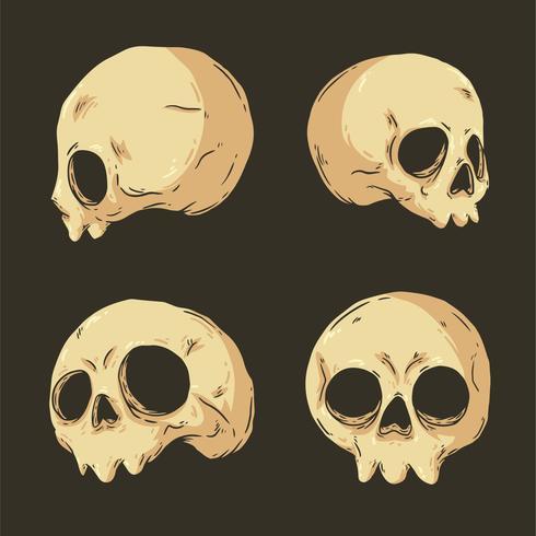 Vecteur de collection de crâne dessiné à la main