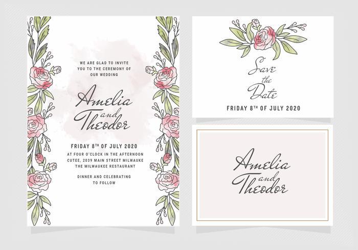 Vector Watercolor Roses Wedding Invitation