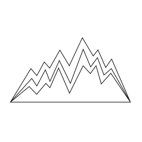Sinal, de, montanha, ícone