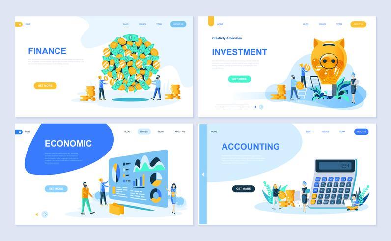 Set med målsida mall för finans, investering, redovisning, ekonomisk tillväxt. Modern vektor illustration platt koncept dekorerade människor karaktär för webbplats och mobil webbutveckling.