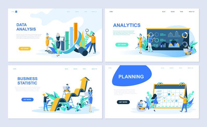 Set med målsida mall för dataanalys, Analytics, företagsstatistik, planering. Modern vektor illustration platt koncept dekorerade människor karaktär för webbplats och mobil webbutveckling.