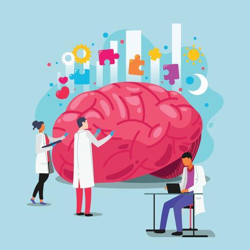 Artsen helpen de hersenen. Wereld geestelijke gezondheid dag concept
