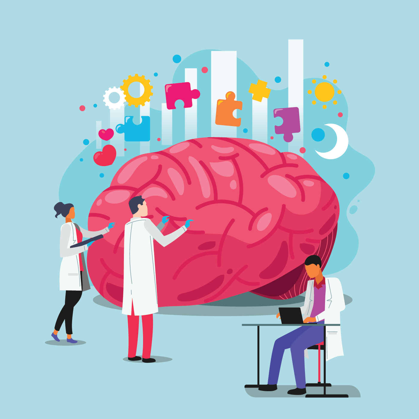 Doctors Help the Brain. World Mental Health Day Concept ...