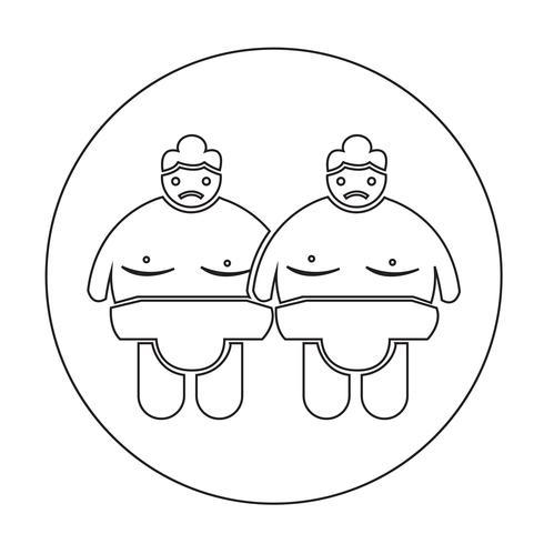 Icône de peuple sumo wrestling