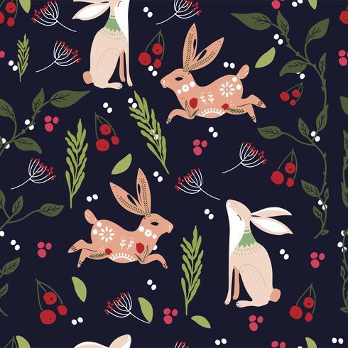 Druckbares Muster der skandinavischen Volkskunst mit Häschen und Blumen