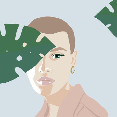 Flat girl short hair outdoor vector illustration