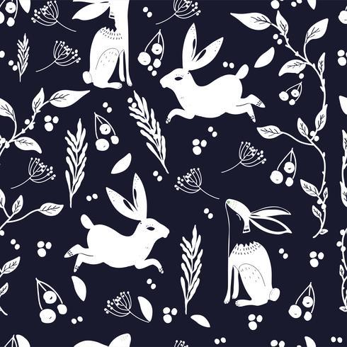 Patrón de arte popular escandinavo con bannies y flores
