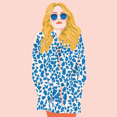 Platt mode flicka långt hår leopard print vektor illustration