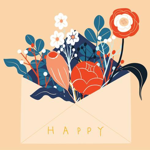 Skandinaviska folk konst blommor i kuvert Hälsningskort vektor