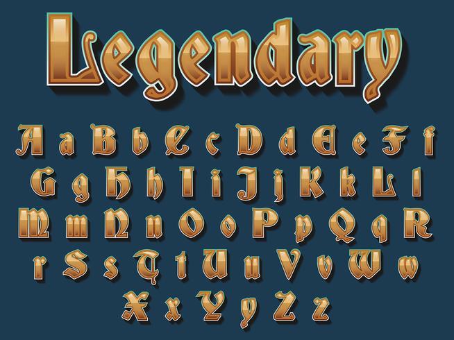 Tipografia medievale dorata vettore