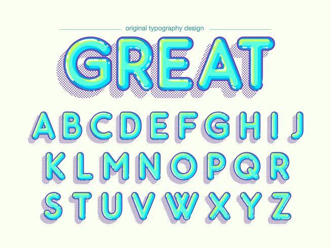 Lichtblauwe afgeronde komische typografie