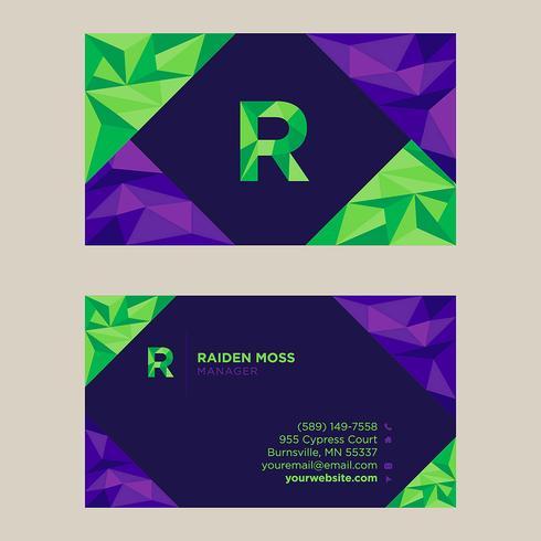 Biglietto da visita verde viola colorato