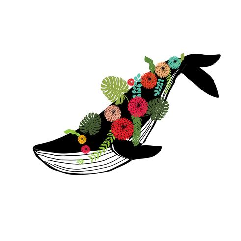 vaquita marina blue whale with floral wreath  sealife  vector illustration