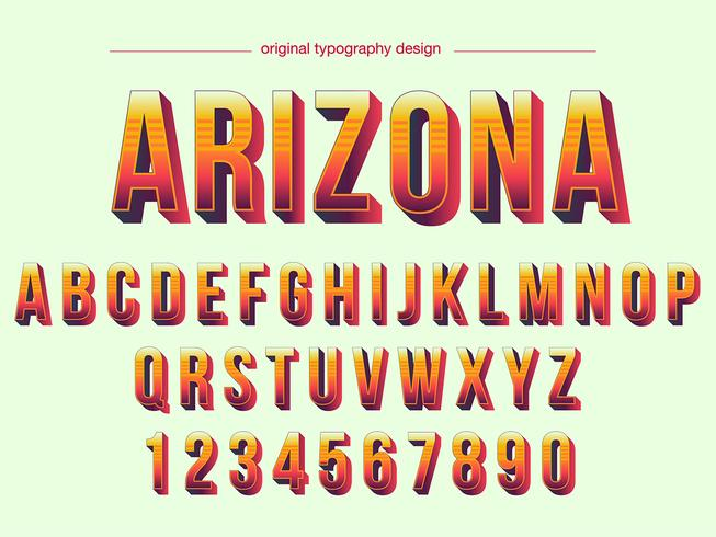 Warm Colors Bold Bevel Typography Design vector