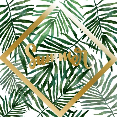 hand drawn watercolor Tropical leaves vector
