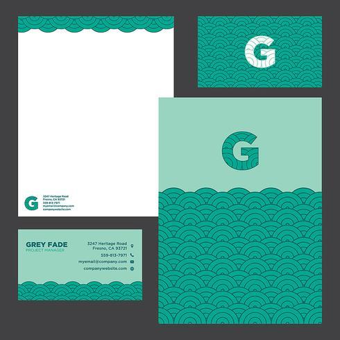 Plantilla colorida de los efectos de escritorio del negocio de las ondas verdes
