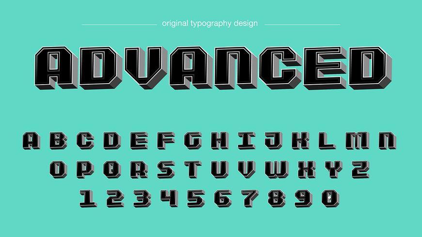 Tipografía Bold Black 3D square