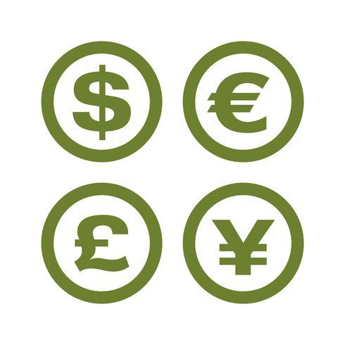 Stellen Sie Währungs-Geld-Zeichen Logo Template Illustration Design ein. Vektor EPS 10.