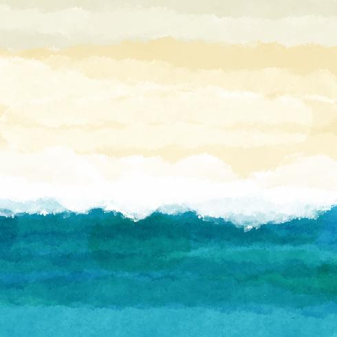 Aquarelle, scène plage