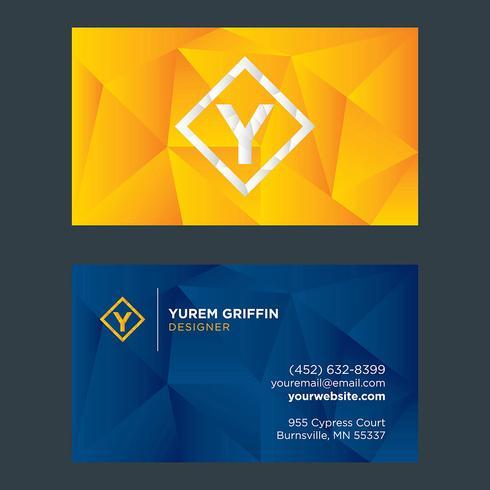 Diseño de tarjeta de visita amarillo azul Low Poly